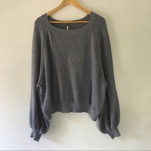 FREE PEOPLE slate gray slouchy sweater